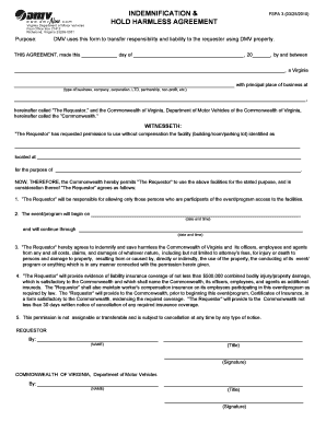 insurance hold harmless agreement form