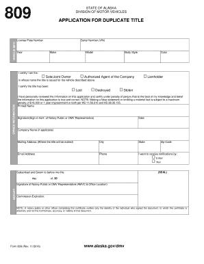 Alaska Lost Title Affidavit Form 809 - Fill Online, Printable ...