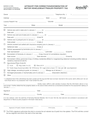Bill of sale form kentucky affidavit of motor vehicle sale for Non ownership of motor vehicle affidavit
