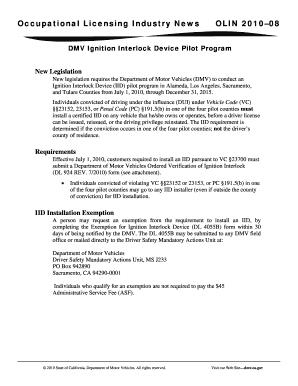 Interlock Ignition Exemtion Form Dmv - Fill Online, Printable ...