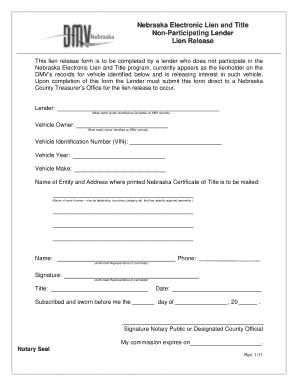 Nebraska lien release form fill online printable fillable blank nebraska lien release form altavistaventures Images