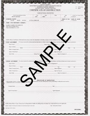 Sample Certificate Of Destruction Form - Fill Online, Printable ...