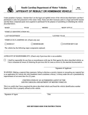 Sc Dmv Form 4038 - Fill Online, Printable, Fillable, Blank   PDFfiller