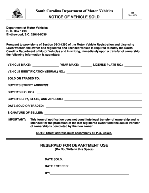 south carolina motor vehicle bill of sale form templates fillable