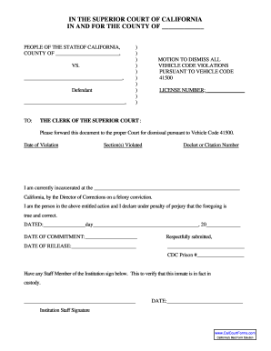 motion to dismiss form Vc41500 Pdf - Fill Online, Printable, Fillable, Blank | PDFfiller