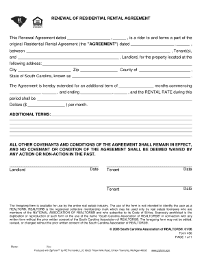 Residential Lease Renewal Form