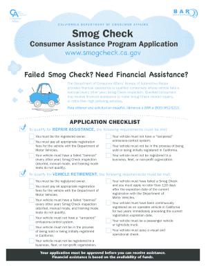 smog check consumer assistance program application fill online printable fillable blank. Black Bedroom Furniture Sets. Home Design Ideas