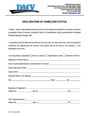 Declaration Of Homelessness Florida Dmv Fill Online Printable