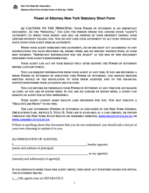 Power Of Attorney New York Statutory Short Form
