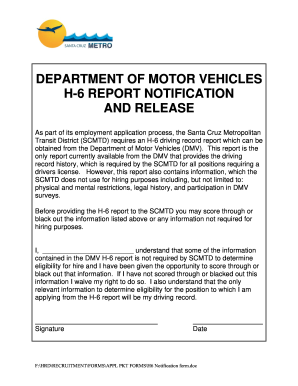 Form h 6 fill online printable fillable blank pdffiller for Department of motor vehicle forms