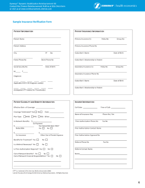 medical insurance verification form template  Medical Insurance Verification Form - Fill Online, Printable ...