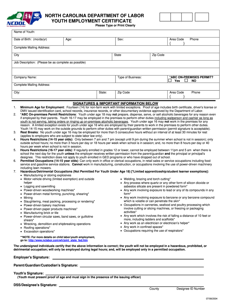 2004 2021 Form Nc Youth Employment Certificate Fill Online Printable Fillable Blank Pdffiller