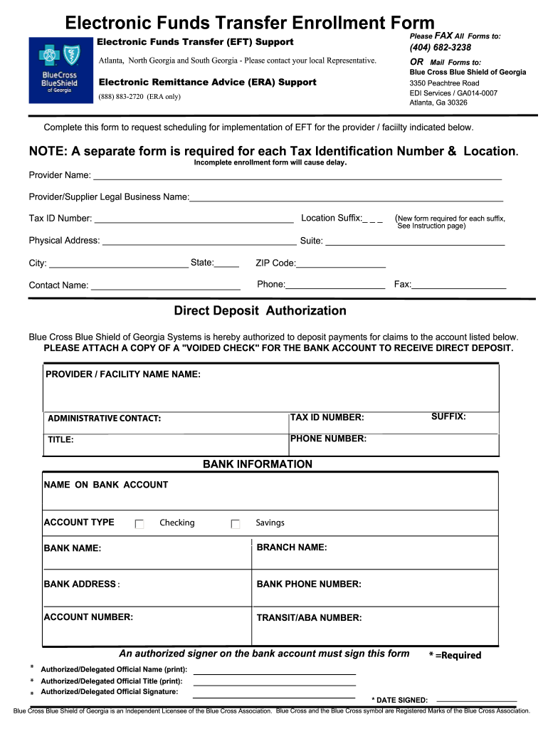 Bcbs Of Georgia Eft Enrollment Form - Fill Online ...