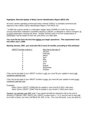Biennial update of motor carrier identification report for Motor carrier identification report