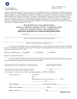 2011 form fmcsa oce 46 fill online printable fillable for Federal motor carrier safety regulations pdf
