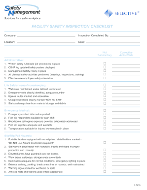 facility security plan template - inspection checklist forms and templates fillable