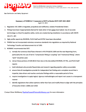 Quality Integrity Passion Summary of NORMAC Comments to DOT in ... - opsweb phmsa dot