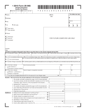 Oregon Insurance Tax Return Instructions - Fill Online, Printable ...