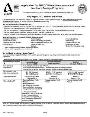 application for ahcccs health insurance and medicare savings program fillable form