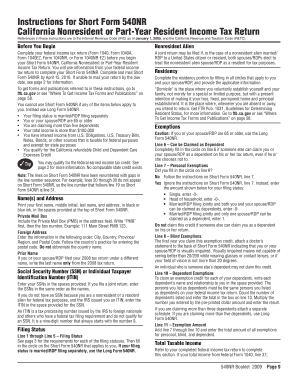 2009 540nr Short Form - Fill Online, Printable, Fillable, Blank ...