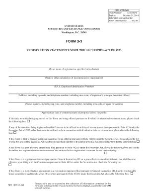 Fillable Online sec Form S-3 - sec Fax Email Print - PDFfiller