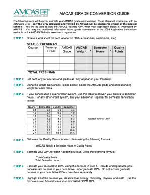 amcas grade conversion form