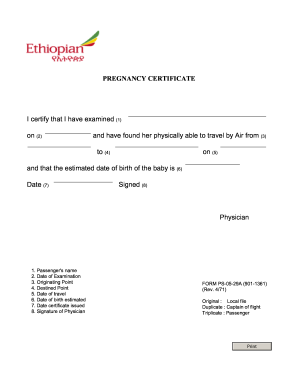 Fit to fly certificate pregnancy format fill online for Fit to fly certificate dog template