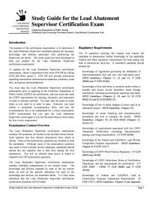 Lead Abatement Supervisor Study Guide New York - Fill Online