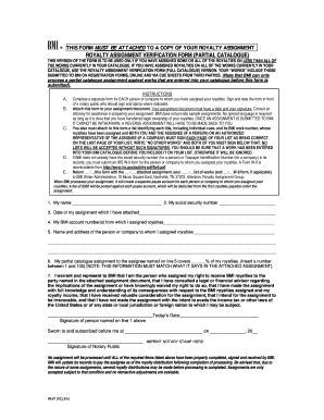 bmi royalty assignment verification form