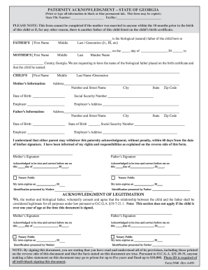 State Of Georgia Paternity Acknowledgement Form - Fill Online ...