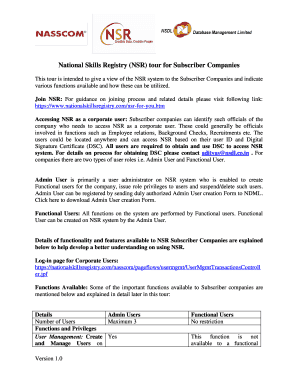 National Skills Registry Pdf Application Form - Fill Online ...