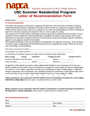 is there a form for usc letter of recommendation fill online printable fillable blank pdffiller