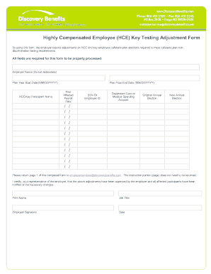 cafeteria plan nondiscrimination testing template form
