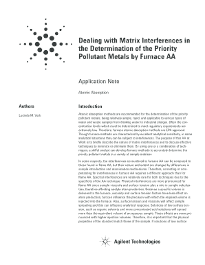 l m voth dealing with matrix interferences in the determination of the priority pollutant metals by furnace aa