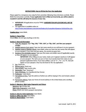 Fillable Online Cdc Peru Visa Application Form Pdf Fax Email Print Pdffiller