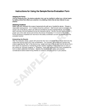 sample device evaluation form