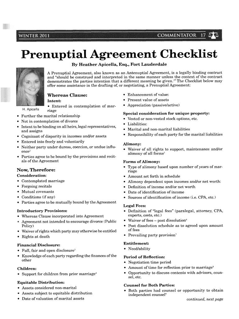 Florida Prenuptial Checklist Fill Online Printable
