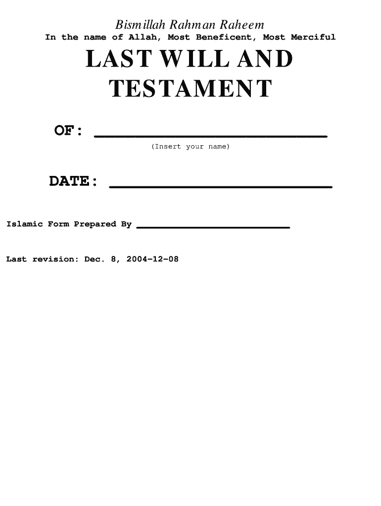photograph regarding Free Printable Last Will and Testament, Ohio named Printable Islamic Very last Will - Fill On line, Printable