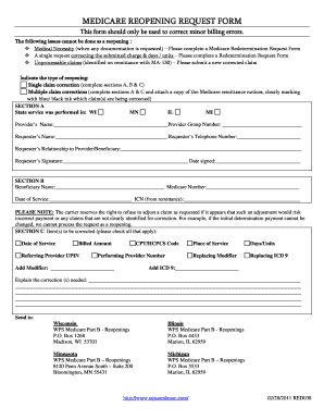 Purpose Of Medicare Reopening Request Form - Fill Online ...