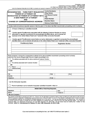 power of attorney form uspto  Reexamination Third Party Power Of Attorney - Fill Online ...