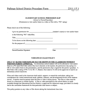 movie consent form school