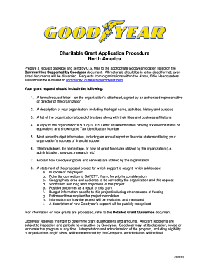 charitable grant application procedure north america goodyear formal letter format letter of authorization for the request