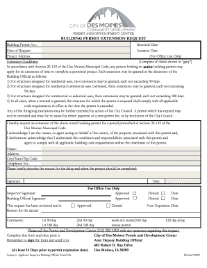 Building Permit Extension Request Form - City of Des Moines - dmgov