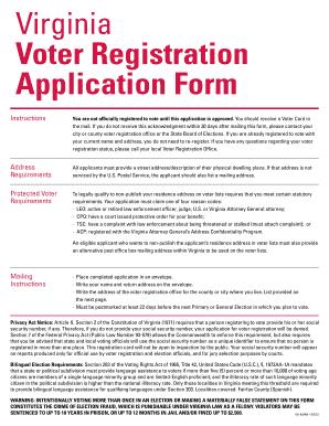 Virginia Voter Registration Application Form Fillable - Fill ...