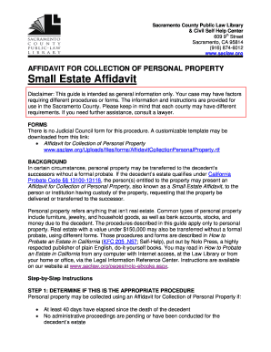 California Affidavit For Collection Of Personal Property Forms and ...