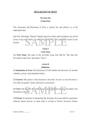 declaration of trust sample form