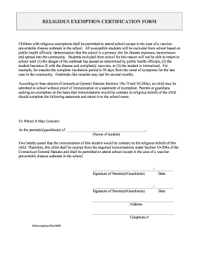 Religious Exemption Form Ct - Fill Online, Printable, Fillable ...