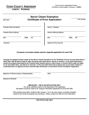 Cook County Senior Citizens Exemption Certificate Of Error - Fill ...