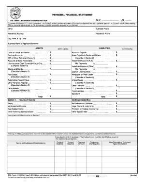 sba personal financial statement form 413 Personal financial statement us small business administration as of sba form 413 (10-08) previous other personal property and other assets.