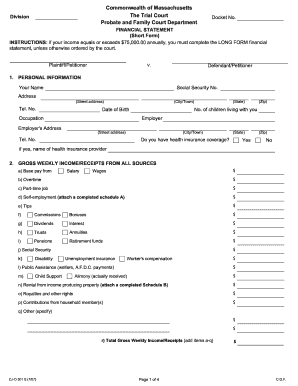 Personal financial statement form instructions